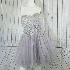 NEW Blondie nites Cupcake Dress Silver Size 5